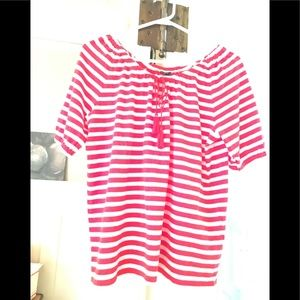 J. Crew red & white Striped Top